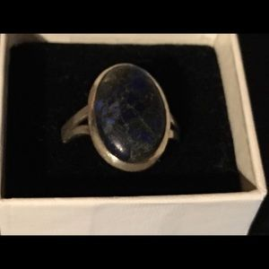 Stone Gemstone Christmas Gifts Ring Jewelry Lapis Lazuli Ring Size 8-925 Sterling Silver Statement Ring For Women
